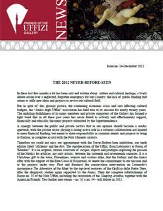 Friends of the Uffizi Gallery December 2012 Newsletter
